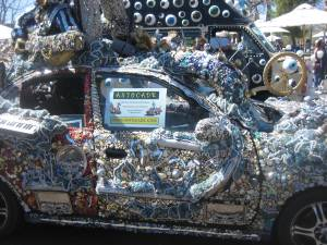 Art car meticulously embellished with bling.