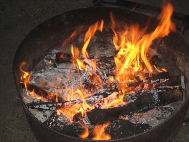 campfire in metal fire ring