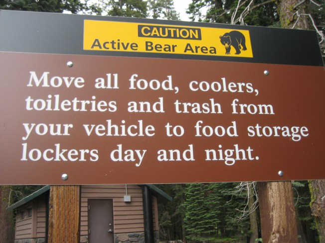 Brown metal sign. At top there is a yellow strip that read, Caution Active Bear Area with an drawing of a bear. Below, white letters read, Move all food, coolers, toiletries and trash from your vehicle to food storage lockers day and night.