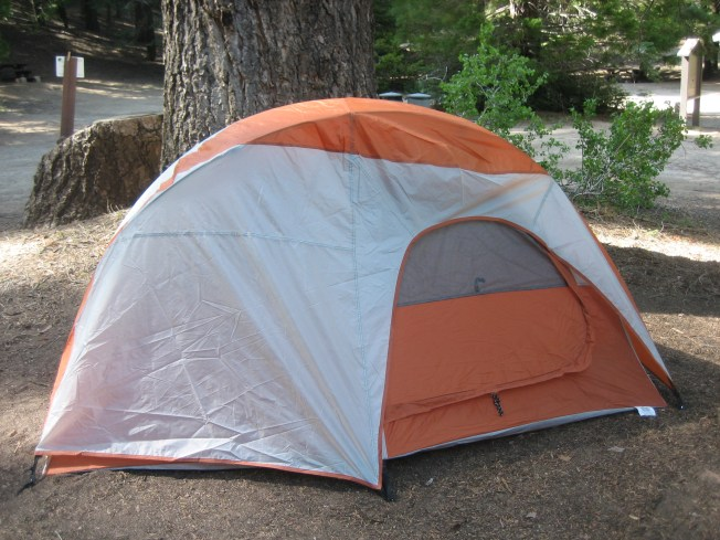 Small orange and grey dome tent