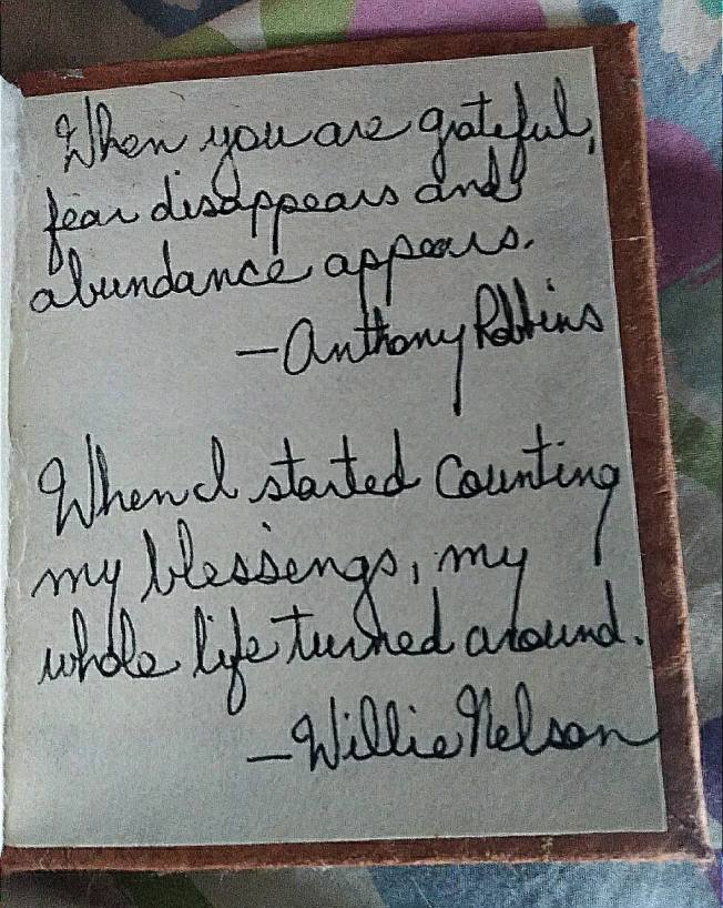 "Two more gratitude quotes read: ""When you are grateful, fear disappears and abundance appears.""--Anthony Robbins and ""When I started counting my blessings, my whole life turned around.""--Willie Nelson"