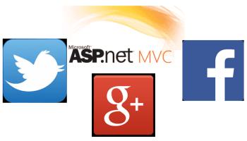 Twitter Facebook GPlus ASP NET