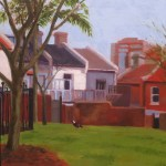Painting of inner city park, afternoon light, by Australian artist Rubi Cassidy