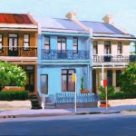 Painting of Paddington terraces, afternoon light, by Australian artist Rubi Cassidy