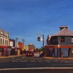 Painting of intersection Victoria St & Balmain Rd, Rozelle, around midday, by Australian artist Rubi Cassidy