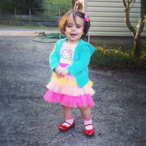 Vivi picked out her ruby red shoes to go to church all by herself.