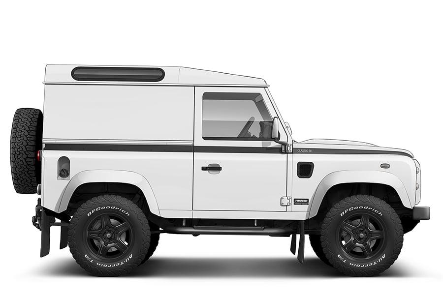 white restomod land rover