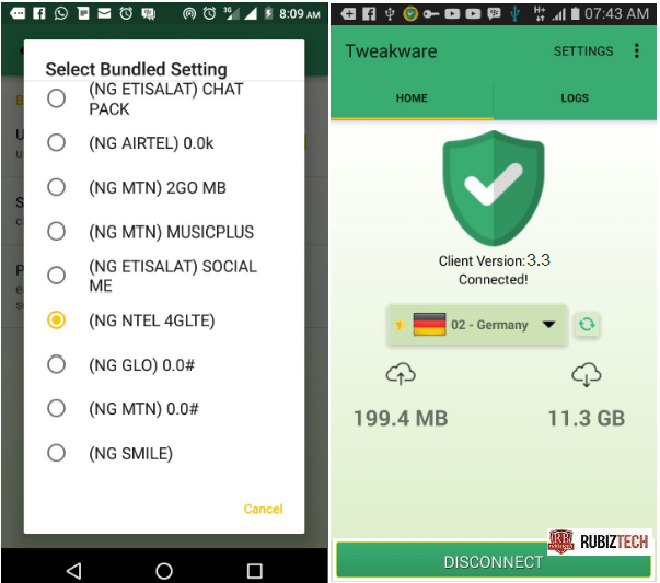 ntel NG 4G Free browsing setup for Android