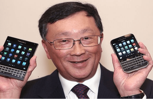 BlackBerry CEO John Chen shows off the new Passport and Classic