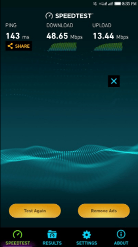 MTN 4G LTE speed test