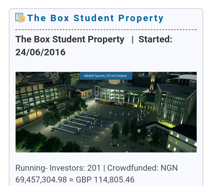Crowdfund the box student property using bitcoin
