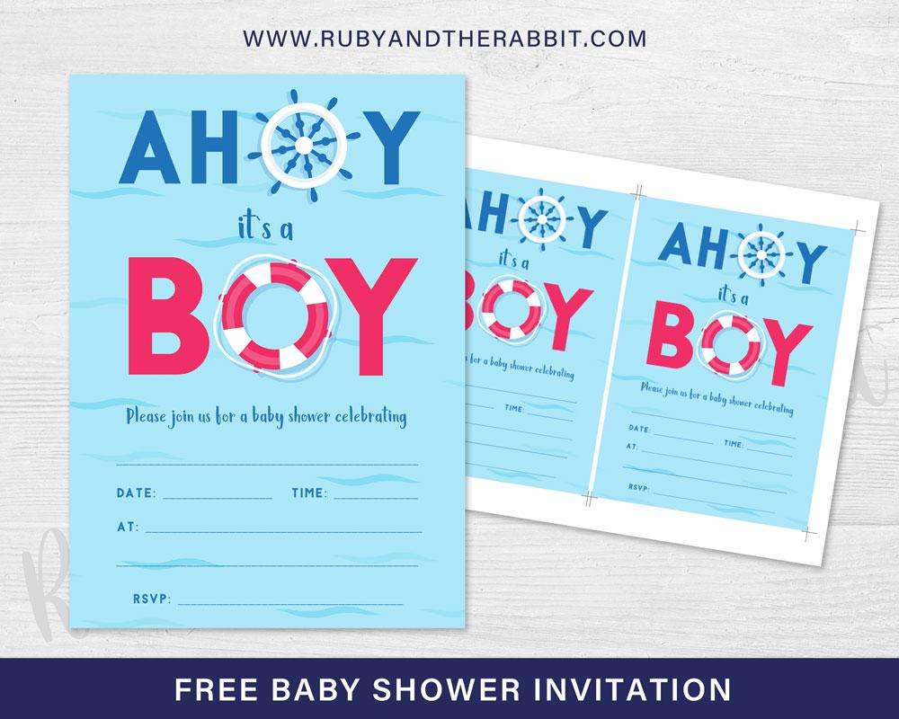 FREE Baby Shower Invitation – Ahoy it's a Boy!