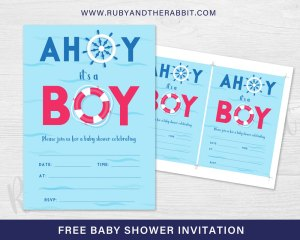 FREE Baby Shower Invitation – Ahoy it's a Boy!