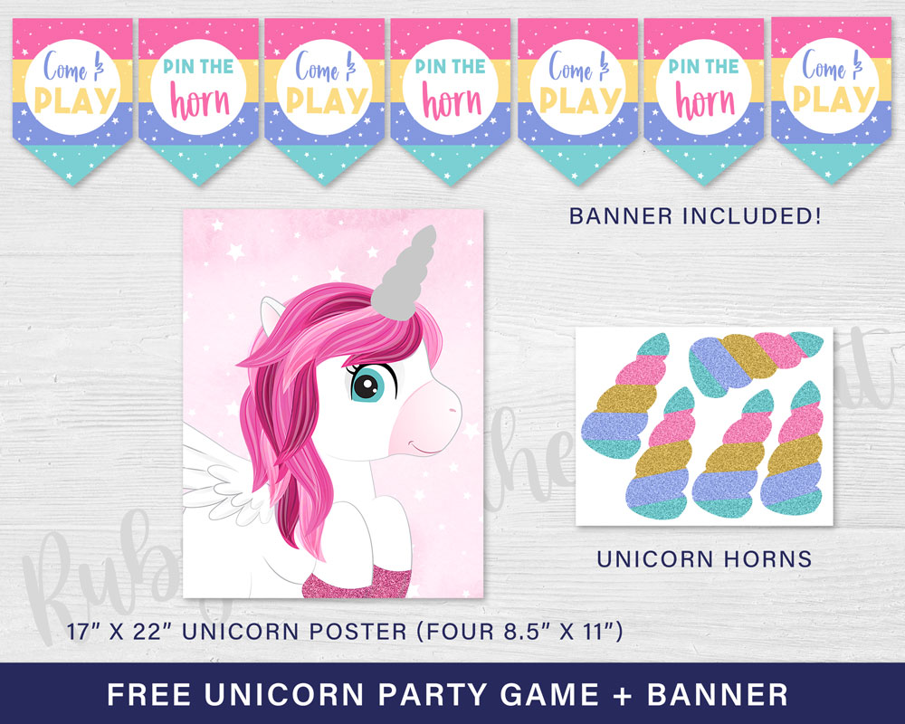 FREE Unicorn Party Game -Pin the Horn on the Unicorn