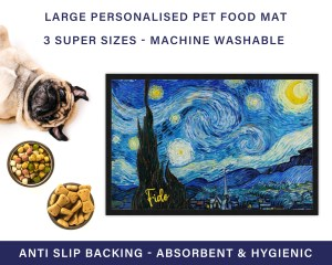 Van Gogh Irises Personalised Dog Food Mat