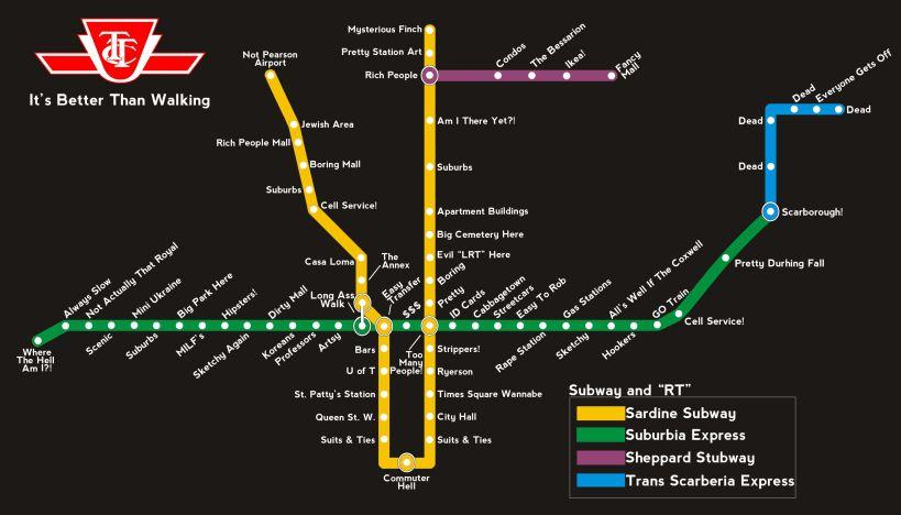 Toronto TTC Map Jokes