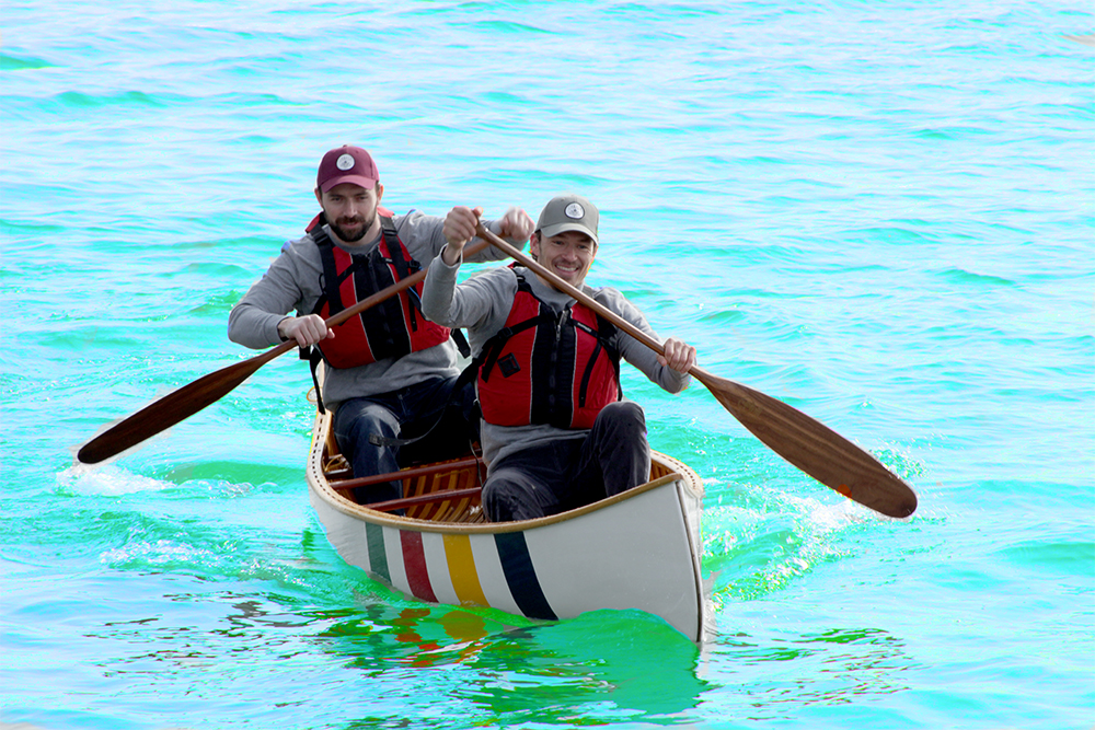 Olympic medalists Simon Whitfield and Mark Oldershaw paddling a Hudson Bay Canoe for The Grand Portage Event March 2017