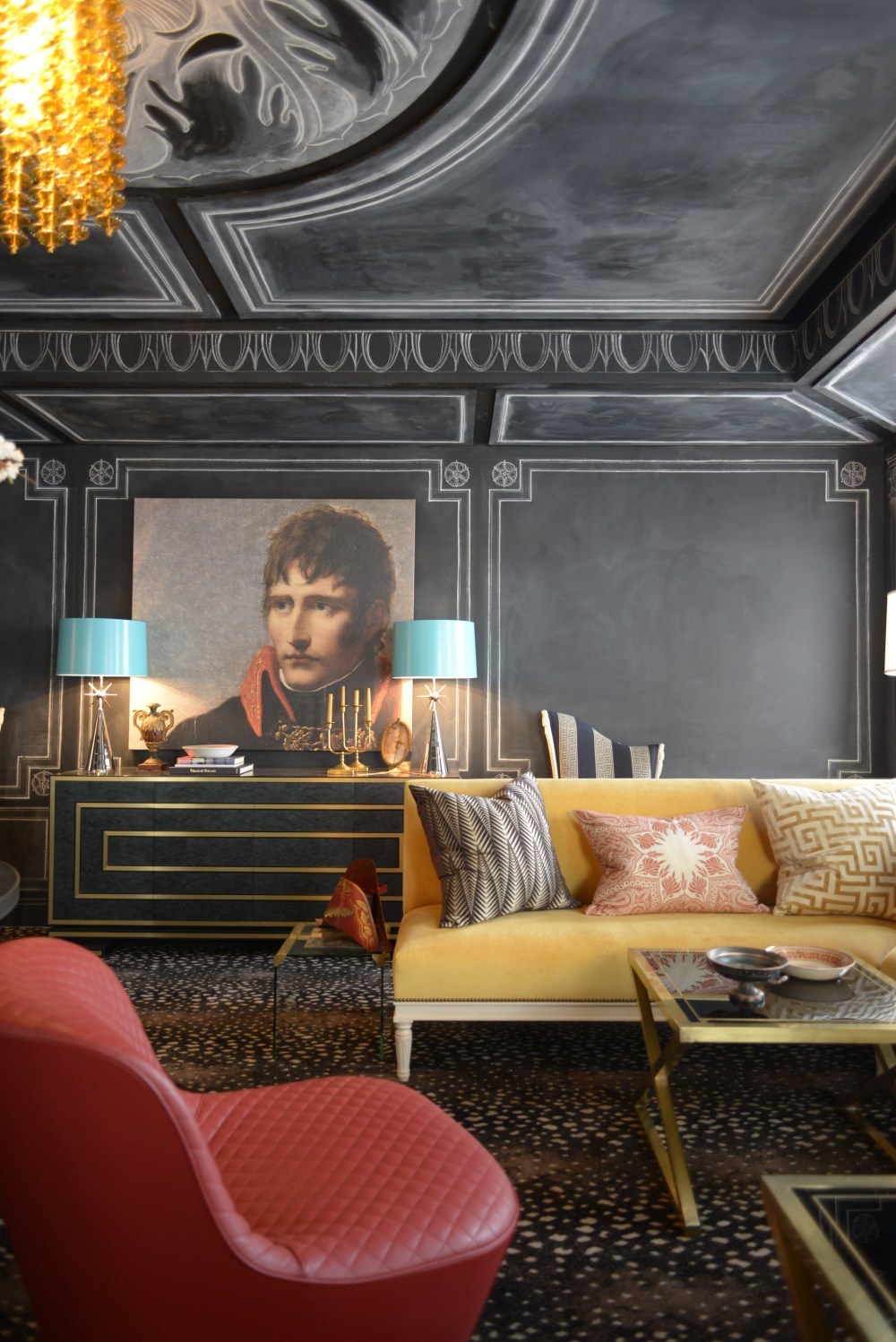 Chalk paint and drawings become a talking point and elegant feature in this lounge. Garrow Kedigian