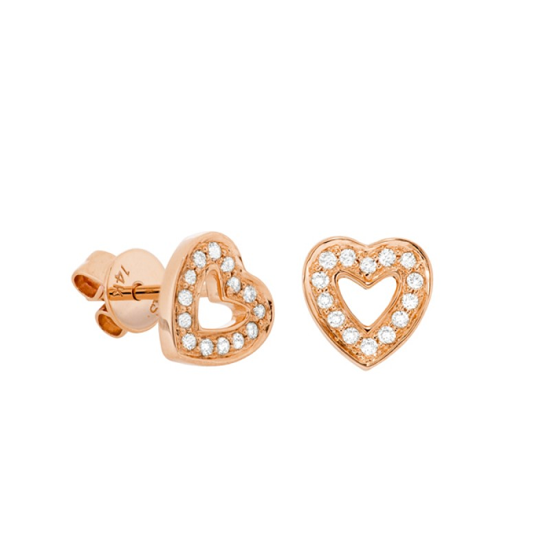 14k Rose Gold Diamond Cut Out Heart Stud Earrings