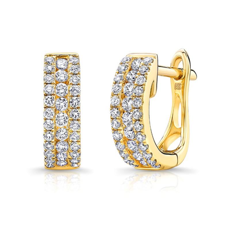 14k Yellow Gold Diamond Channel Set Huggie Hoop Earrings