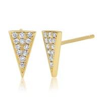 14k Yellow Gold Diamond Triangle Stud Earrings