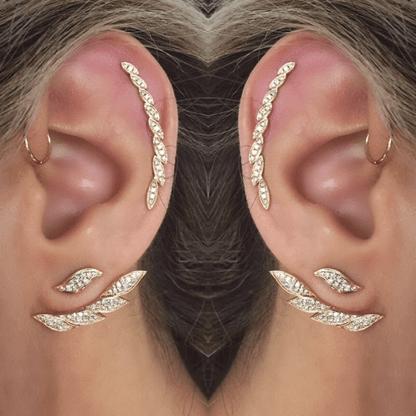 14k White Gold Diamond Leaf Ear Crawler Earring