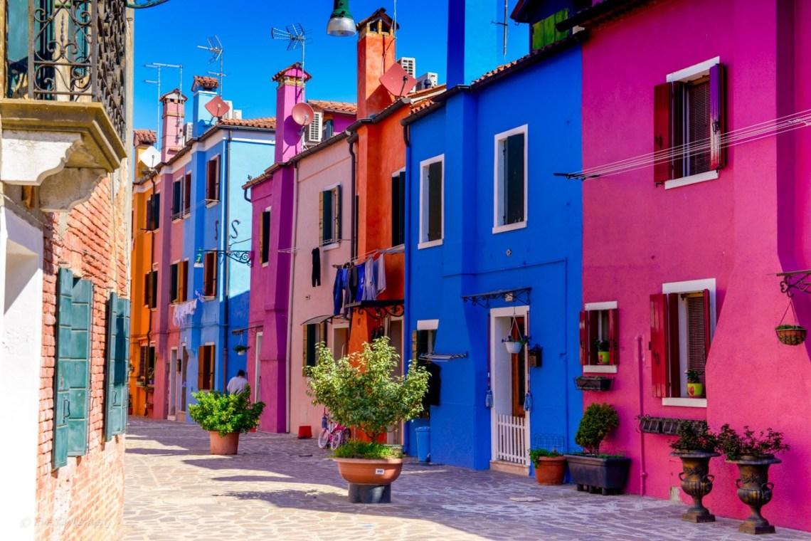 Färgglada hus på Burano - Venedig - Italien
