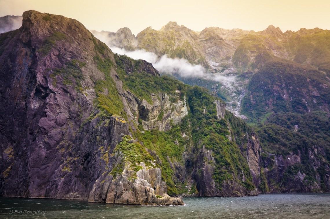 Låga moln i Milford Sound