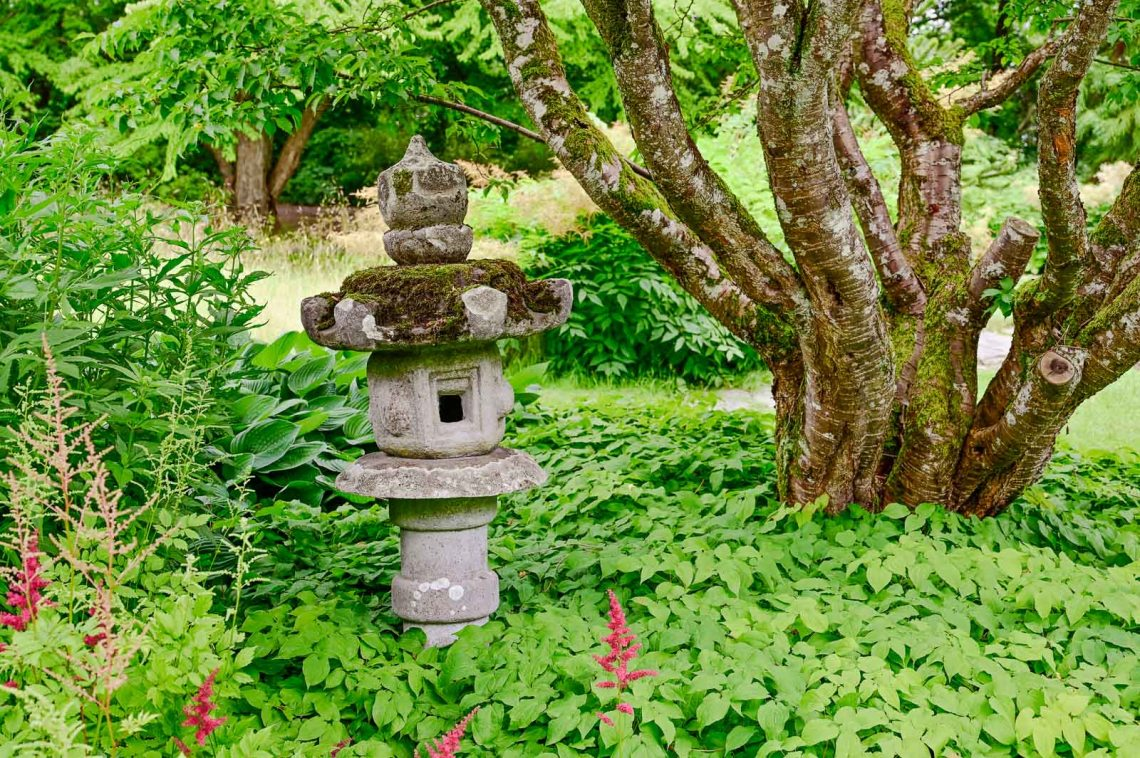 Small stone temple in the Japanese garden
