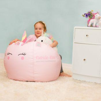 bean bag chairs for boys folding chair caddy big kids bags rucomfy beanbags unicorn beanbag with 3d horn
