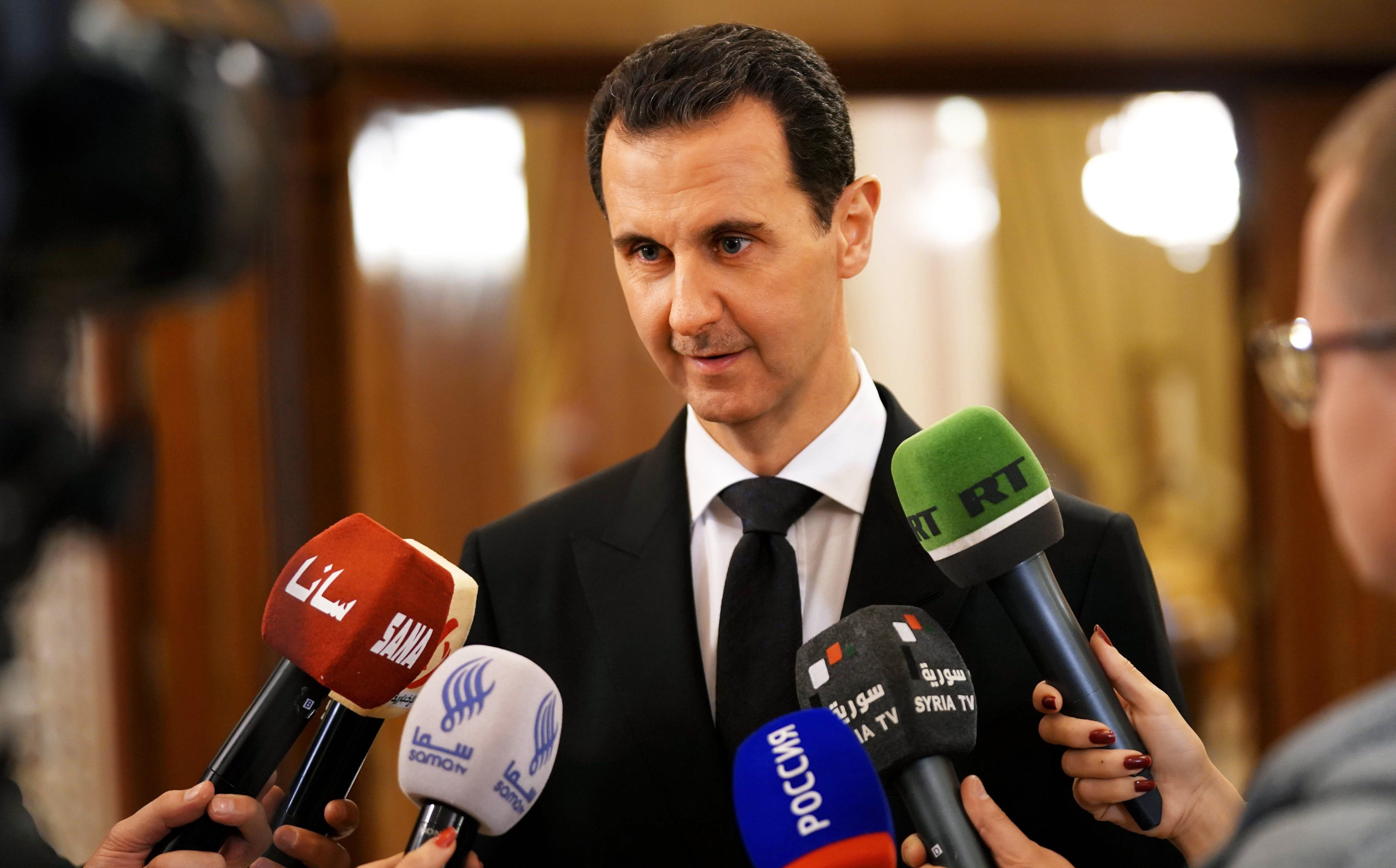 Syrian President Bashar al-Assad speaking to press in Damascus on Monday. Photo: AFP/HO/SANA