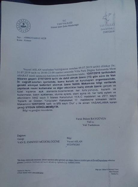 Mem Ararat konseri 'yasak' nedeniyle yasak!