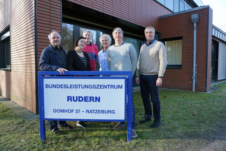 Treffen zum Kompetenzzentrum Rudern mit Behinderung im Februar 2019 in Ratzeburg: v.l.n.r. Reinhart Grahn (DRV), Susann Elker (RRVK), Lutz Bühnert (RRVK), Jürgen Eisner (RRVK), Andreas König (DRV), Jens Hundertmark (DRV)