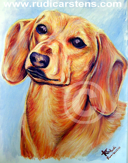 Dog Portrait Painting by Rudi Carstens