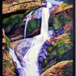 Oil Painting of Waterfall