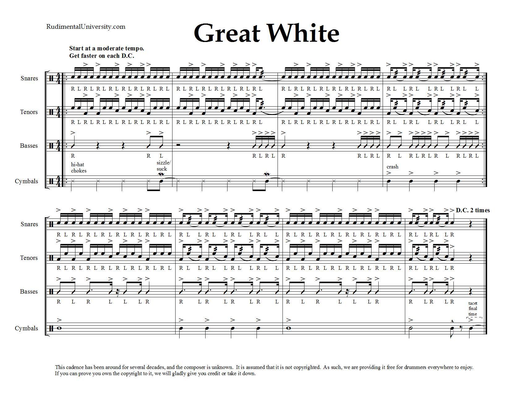 drum line cadences downloadable sheet music rudimental university