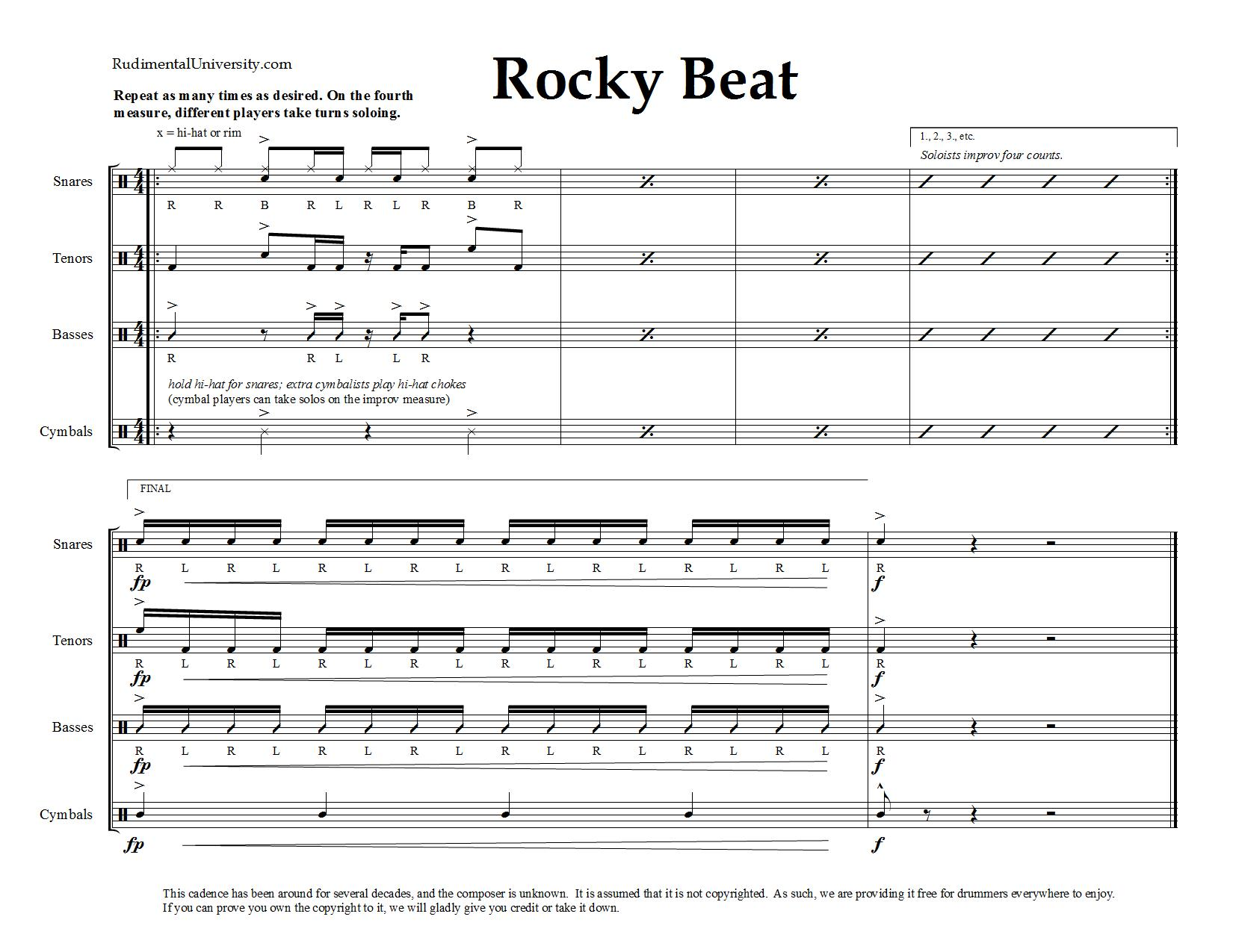 picture relating to Printable Drum Rudiments called Drum Line Cadences - Downloadable Sheet Audio - Rudimental