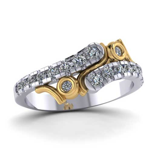 custom design ring - Two tone Wedding Band