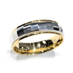 two tone mens wedding band