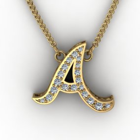 Letter A Gold and Diamond Pendant
