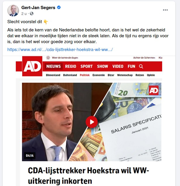 gert-jan segers christenunie facebook wopke hoekstra cda ww korter maken