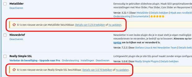 Wordpress Plugins Update beschikbaar