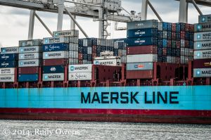 Axel Maersk Cargo Ship at Port of Seattle, April 2014