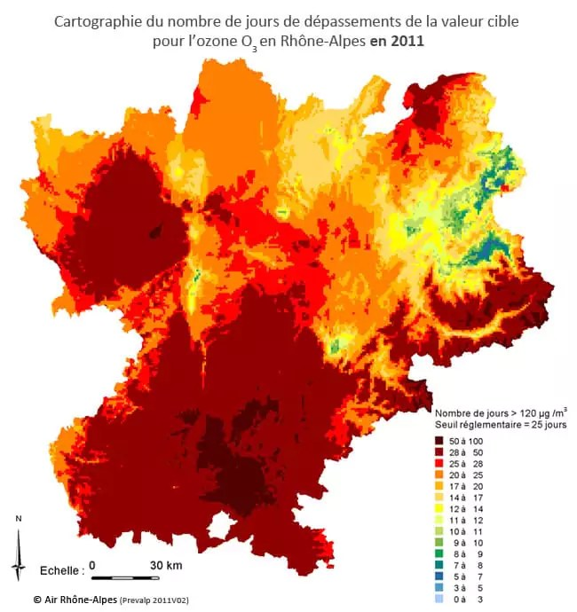 Cartographie ozone Rhône Alpes 2011