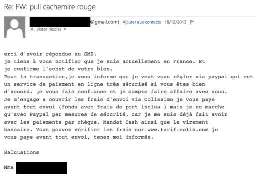 Capture d'écran du mail de confirmation envoyé par l'arnaqueuse