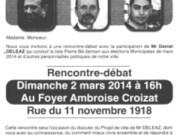 Recto du tract de Daniel Deleaz, candidat à la maire de Pierre-Bénite.
