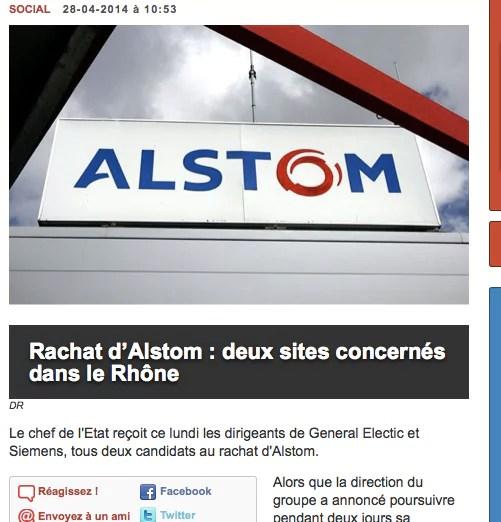 Le rachat d'Alstom concerne au moins deux sites dans le Rhône.