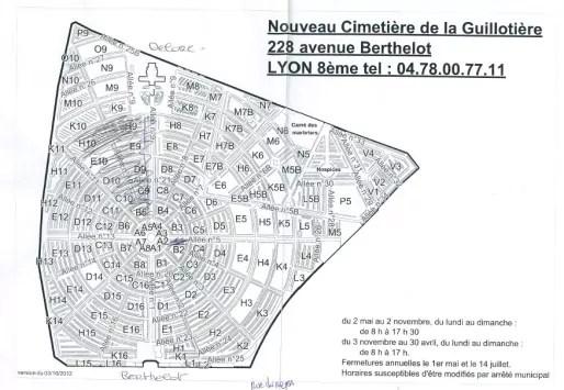 Plan du cimetière et partie détruite par le bombardement