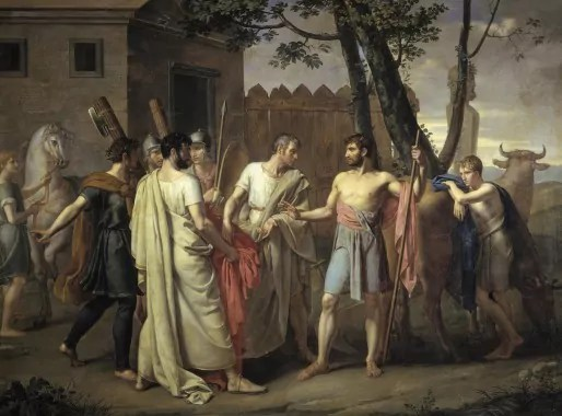 Lucius Quinctius Cincinnatus abandonne sa charrue pour dicter les lois de Rome, Juan Antonio Ribera, 1856.