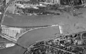 Vue aérienne du barrage écluse de la Mulatière © VNF / IGN